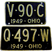 Two Ohio License Plates, Waffle Design, 1949