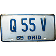 1969 Single Ohio License Plate, Embossed Blue on White