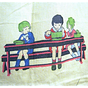 """1920's Scenes of Children Playing on 60"""" Long Curtain Panel"""