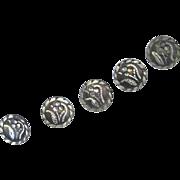 Victorian Cut Steel Brite Cut Enameled Buttons
