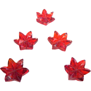 Translucent Bright Scarlet Glass Petaled Flower Buttons