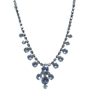 Blue Vintage Rhinestone Necklace, Perfect for a Wedding
