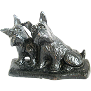 "Vintage Cast Iron Scottie Dogs Lamp Base or Door Stop, after Morgan Dennis' ""Listen"""