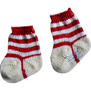 Miniature Christmas Striped Socks for Kitty or Dolly
