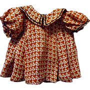 Unusual Figured Crepe Fabric Doll Dress, 1930s