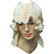 Lady's Fancy Organdy and Lace Boudoir Cap