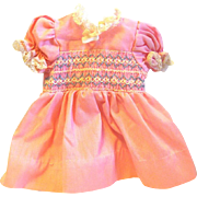 Vintage Smocked Pink Lace Trimmed Doll Dress
