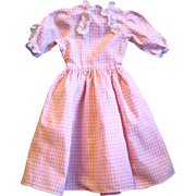 "Vintage Pink and White Lace Trimmed Gingham Dress for 21-22"" Doll"