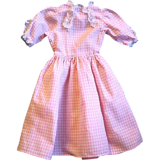 """Vintage Pink and White Lace Trimmed Gingham Dress for 21-22"""" Doll"""