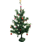 Mid century Table Top Trimmed Cellophane Christmas Tree, Mini Ornaments
