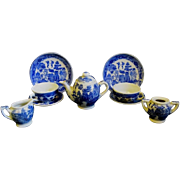 Children's Vintage 10-Piece Blue Willow Tea Set with Birds
