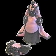 Exquisite Miniature Handmade Victorian Dress, Hat Display, artist signed CM