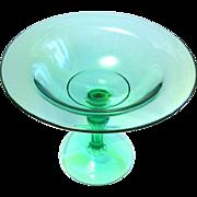 Elegant Green Glass Stemmed Compote, 1930s