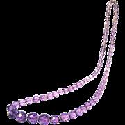 """1920s Czech Faceted Amethyst Glass Beads, 24"""" Long"""