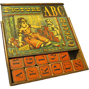 Victorian McLoughlin ABC Blocks in Original Litho Wood Slide Lid Box