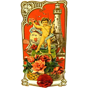 Three-dimensional German Valentine, Cupid in Front of Lighthouse