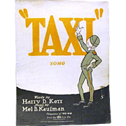"1919 ""TAXI"" Sheet Music, Kerr and Kaufmann, composers of ""Me-ow"""