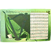 "1908 St. Patrick's Day Postcard  ""Wearin' of the Green"", Music, Harp"
