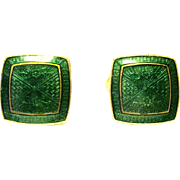 Wearin' of the Green Guilloche Enamel Art Deco Cufflinks