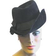 Lady's Black Fur Felt Fedora by French Designer, Evelyn Varon