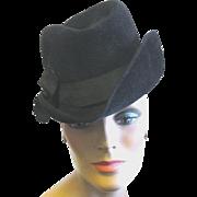 Lady's Black Fur Felt Fedora by French Designer, Evelyn Varon