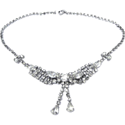 1950's Rhinestone Necklace, Bow Motif