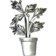 Vintage Sterling Silver Potted Plant Brooch