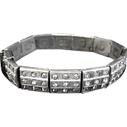 Hinged Link White Metal Bracelet with Rhinestones, Art Deco Era