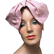 Vintage Martha Cooper Lady's Pink Cloth Straw Hat