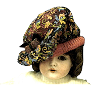 Vintage Doll Hat, Floral Embroidered net over Pink Straw