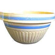 "Large Vintage 10"" Yellow Ware Blue Banded Mixing Bowl"
