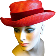 1950s - '60s Lady's Lemington Bright Red Straw Hat
