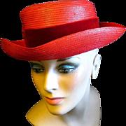 1950s - '60s Lady's Lemington Bright Red Straw Hat