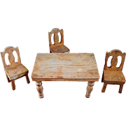 Miniature Dollhouse Size Kitchen Table, 3 Chairs from the 1940s