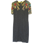 Beaded Silk Designer Cocktail Dress, 1980s