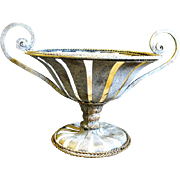 Vintage Cast Metal Strap Garden Urn, or Fruit Basket