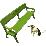 Britains Lead Miniatures, Hound and Park Bench