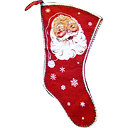 1940's Printed Christmas Stocking shows Santa and Candy Canes