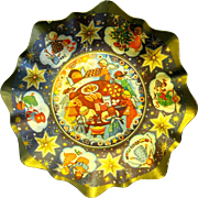 Mid Century Lithographed Christmas Cardboard Cookie Bowl, West Germany