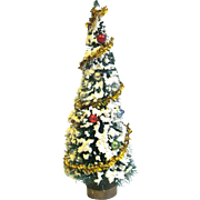 Vintage Flocked and factory Decorated Bottle Brush Christmas Tree