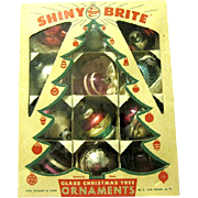Vintage 12 Shiny Brite Ornaments in Eckardt Shiny Brite Box