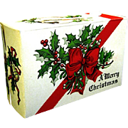 1940's Cardboard christmas Candy Box with Holly