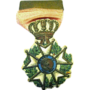 Victorian Dresden Christmas Ornament, French Foreign Legion Medal