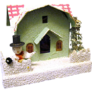 1930's Christmas Putz House with Checkered Mansard Roof, Snowman