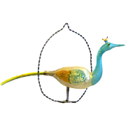 Edwardian Unsilvered Blown Glass Peacock Perched on Twisted Wire Circle, Germany