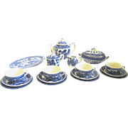 20-Piece Miniature Doll-size Blue Willow China Tea Set, 1930s