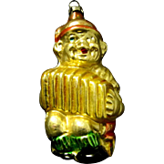 Vintage 1920's Blown Mercury Glass christmas Ornament, Boy with Accordion