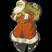 Vintage 1922 Walking Cardboard Advertising Santa Claus