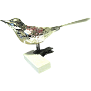 German Blown glass Bird Christmas Ornament, Spun Glass Tail