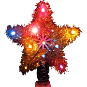 Lighted Tinsel Star Tree Topper, Wire Spring Base